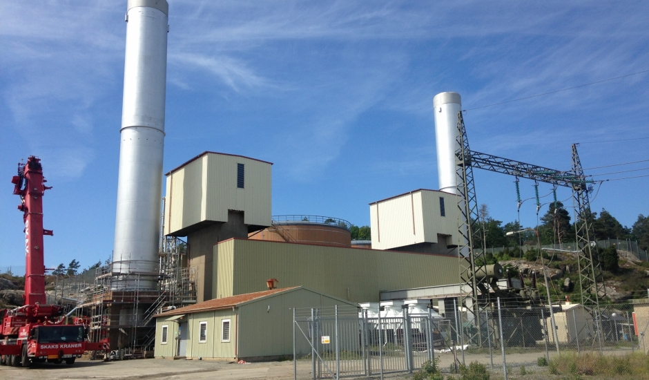 36 M hign steelstacks for powerstation Arendal Sweden